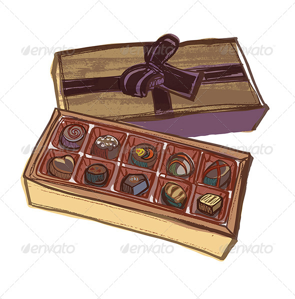 GraphicRiver Chocolate Box with Various Chocolates and Bow Ribbon 4755716