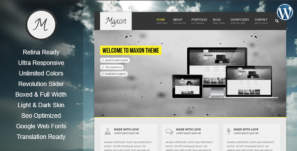 ThemeForest Maxon Retina Responsive Multi-Purpose WP Theme 4739134