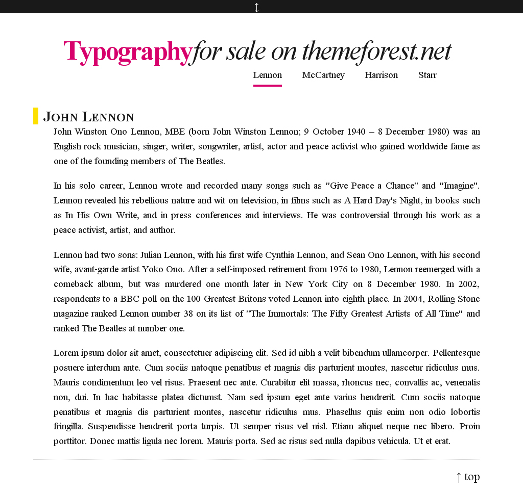 Typography. - This is how you see the homepage when you visit it and haven't clicked/hovered anything yet.