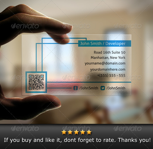 GraphicRiver Translucent QR Code Business Card 4756127