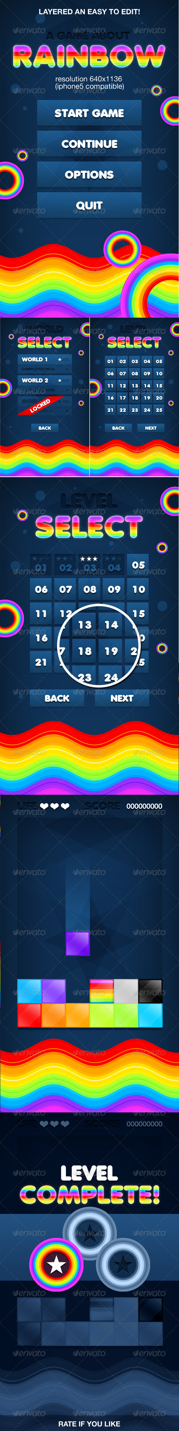 GraphicRiver Rainbow Game Ui interface 4756670
