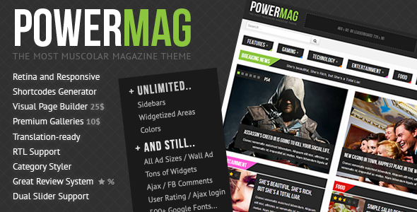 ThemeForest PowerMag The Most Muscolar Magazine Reviews Theme 4740939