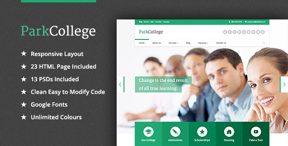 ThemeForest ParkCollege Education Responsive HTML Template 4757847
