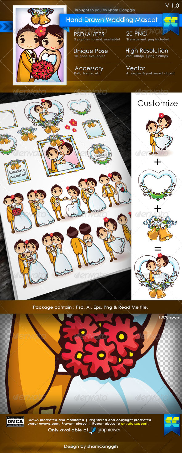 Cute Hand Drawn Wedding Mascot - Characters Illustrations