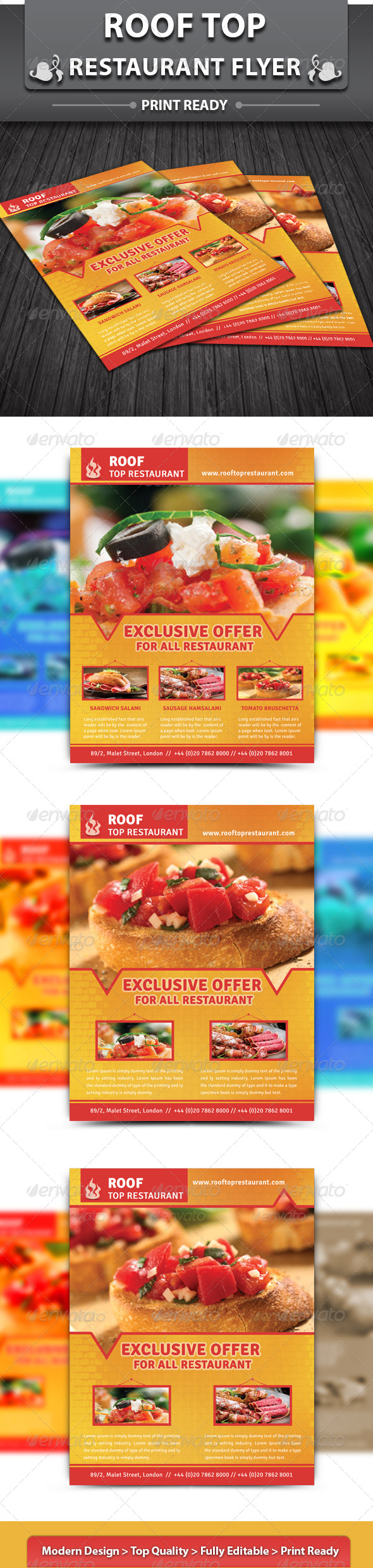 GraphicRiver Roof Top Restaurant Flyer 4758350