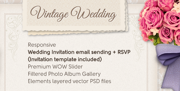 Features RSVP and Wedding Invitation email sending (invitation template included) Responsive Theme Options (Admin Panel) 12 Widget Areas Bride & Groom phot