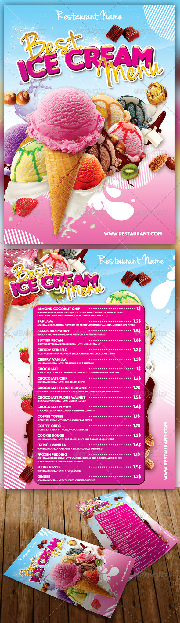 Ice Cream Menu - Food Menus Print Templates