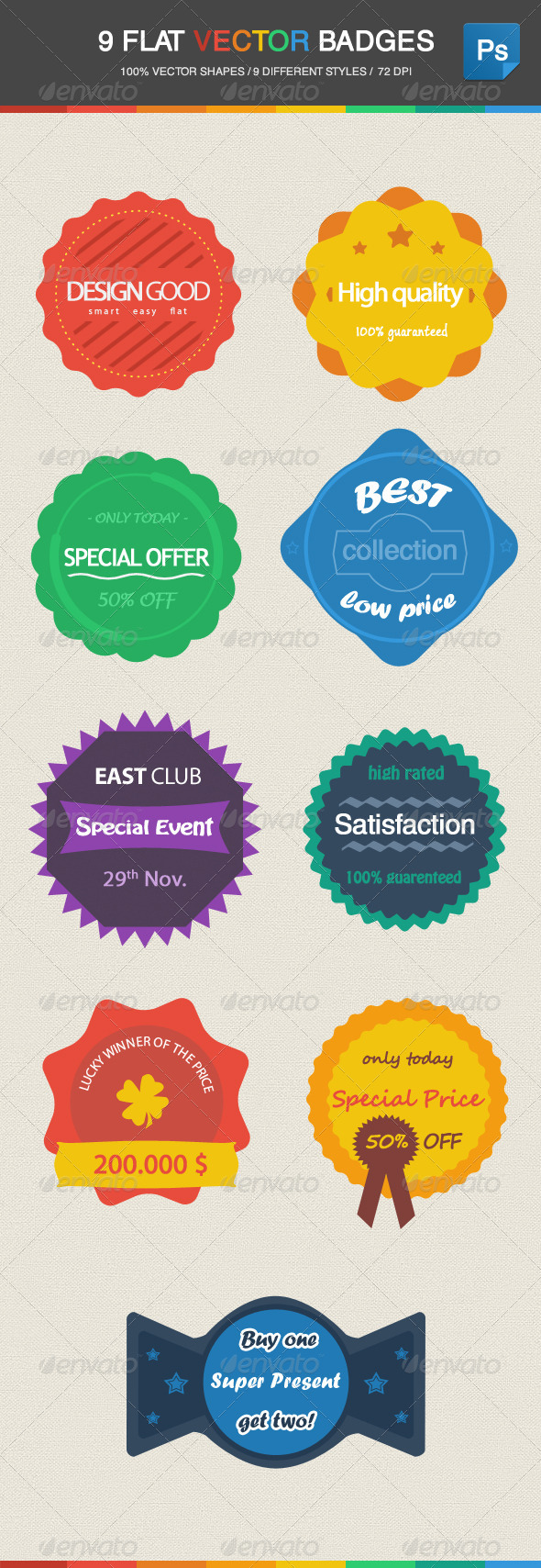 GraphicRiver 9 Flat Vector Badges 4758503