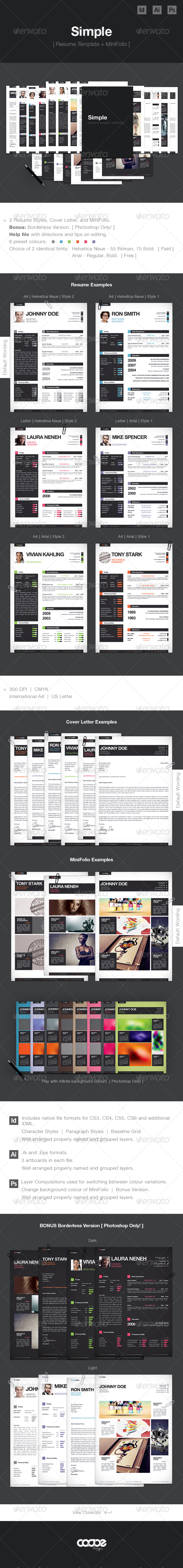 GraphicRiver Simple Resume CV Template & Mini Portfolio 4678185