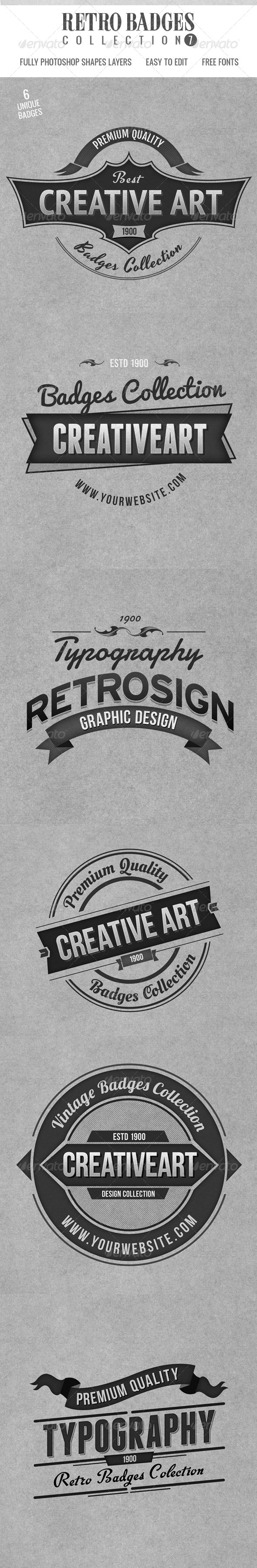 Retro Badges Col 7 - Badges & Stickers Web Elements