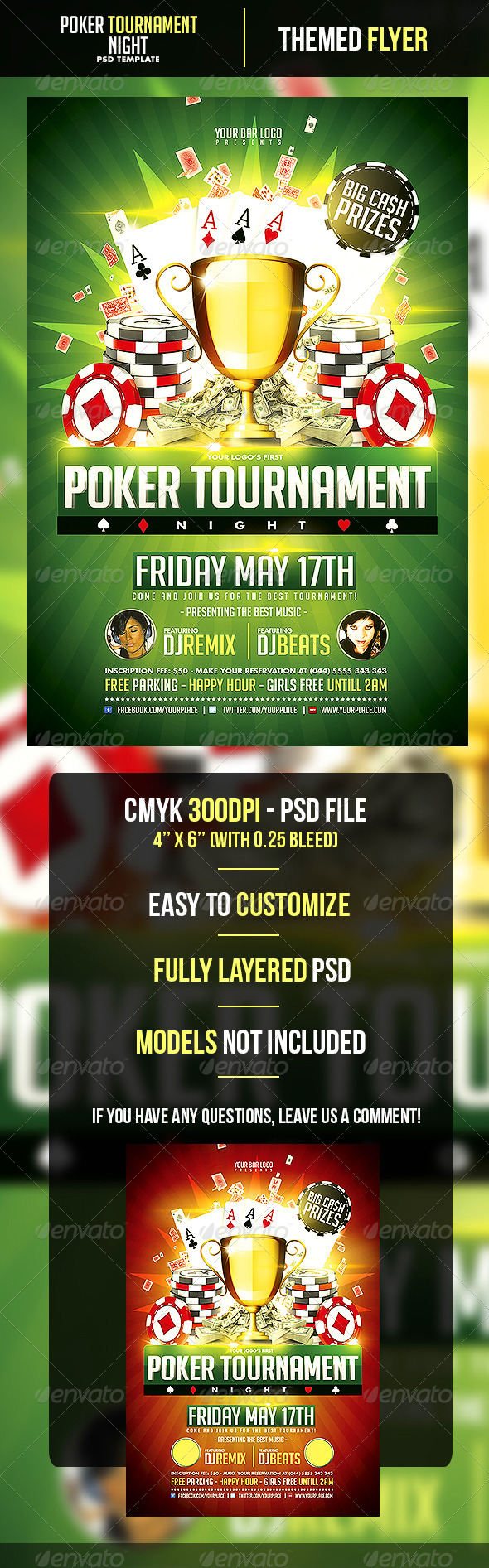 Poker Tournament Night Flyer Template - Events Flyers