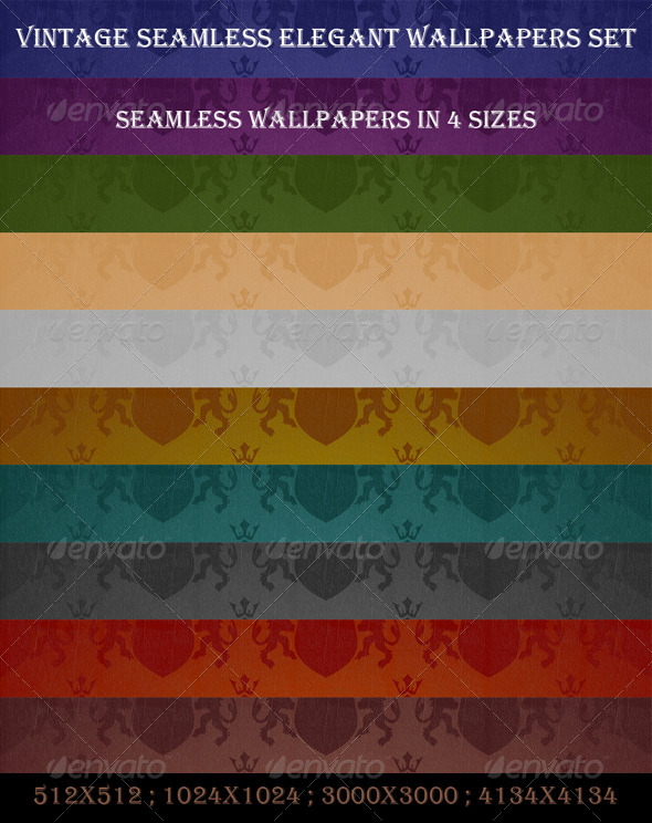 Seamless Elegant Wallpapers Set - Patterns Backgrounds
