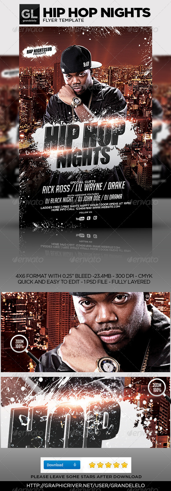GraphicRiver Hip Hop Flyer Template 4759489