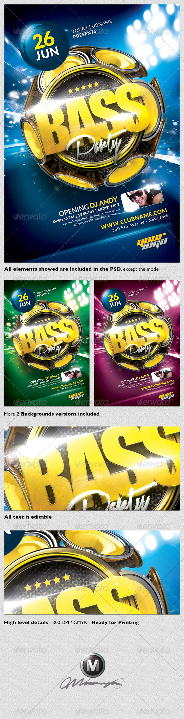 Bass Party Flyer Template - Clubs & Parties Events
