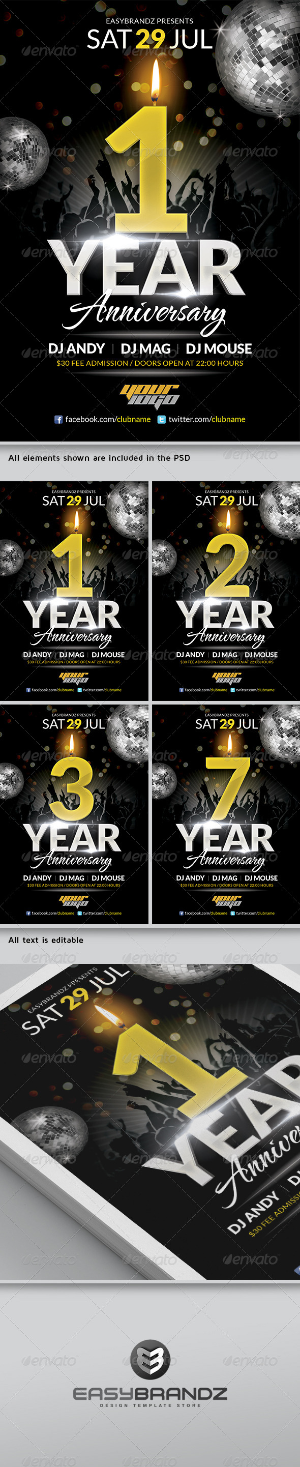 GraphicRiver Anniversary Flyer Template 4596645