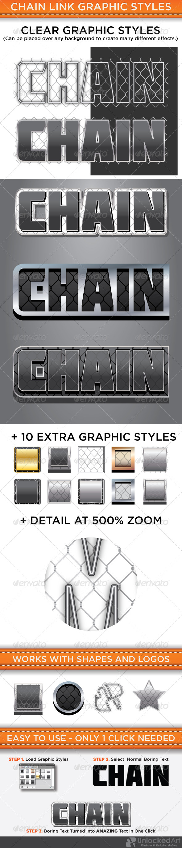Chain Link Graphic Styles - Styles Illustrator