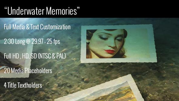 Videohive Underwater Memories Slideshow水下记忆效果相片展示AE模板