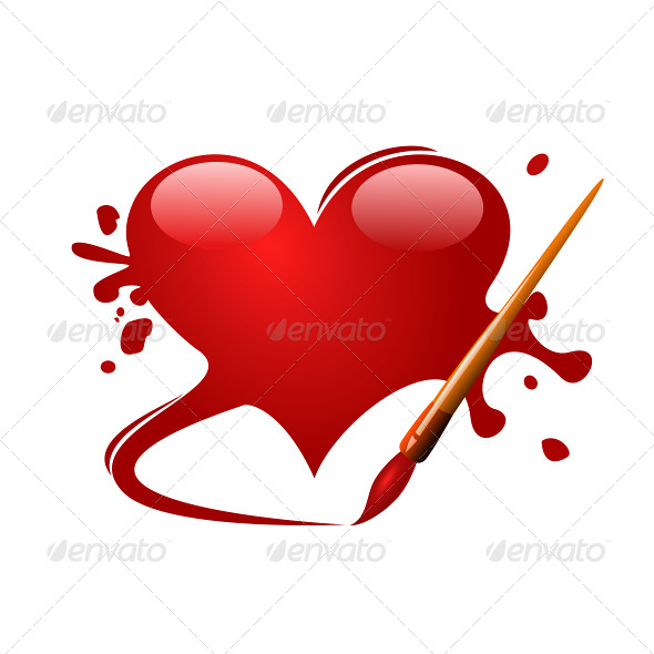 GraphicRiver Heart Drawn in Red Paint with a Brush 4760978