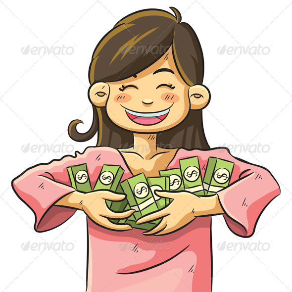 GraphicRiver Cute Girl Holding Money 4761472
