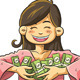 Cute Girl Holding Money - GraphicRiver Item for Sale