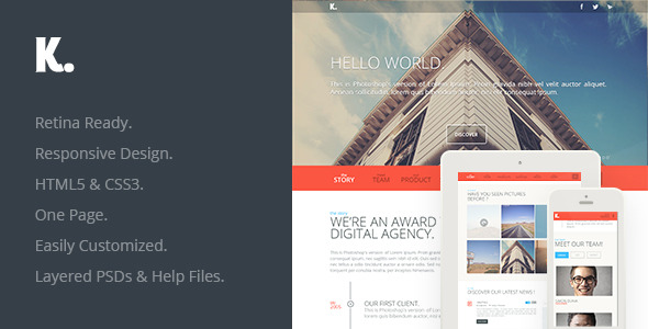 K. Responsive HTML5 One Page