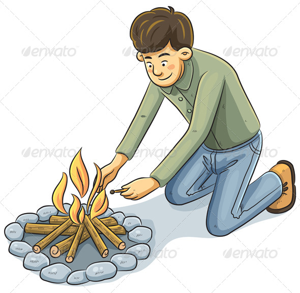 GraphicRiver Man Lighting the fire 4761743