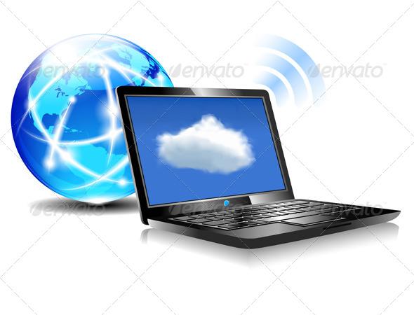 GraphicRiver Laptop Cloud Connection Wifi Digital 4762011