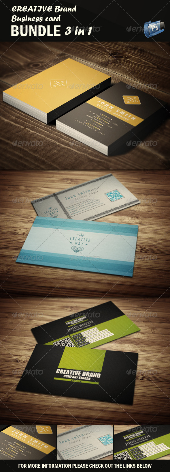 GraphicRiver Creative Business Card Bundle 3 in 1 4762094