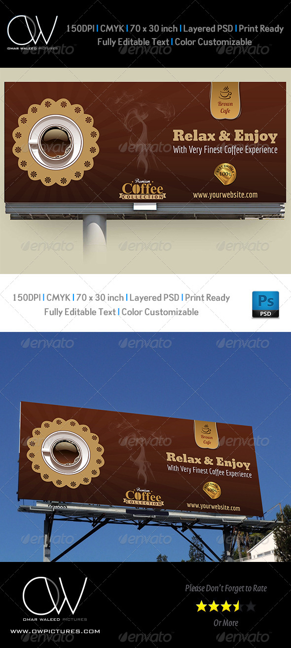 Cafe Billboard Template - Signage Print Templates