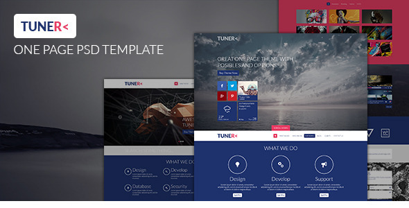 ThemeForest Tuner One Page Portfolio PSD Template 4739704