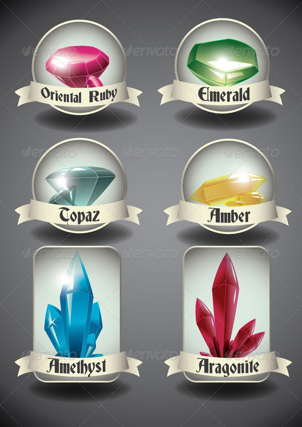 GraphicRiver Crystals and Gems Badges 4762703