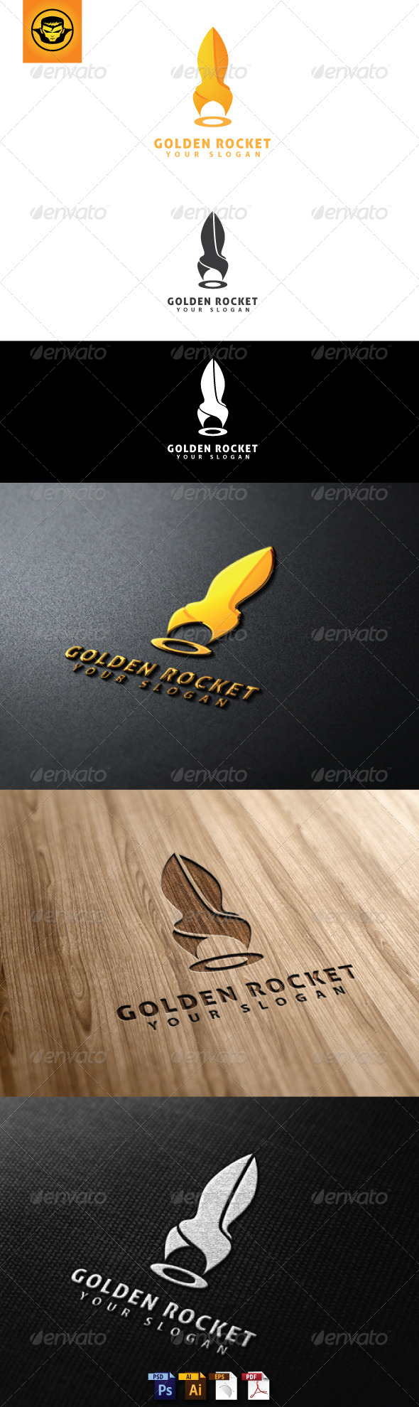 GraphicRiver Golden Rocket Logo Template 4762966