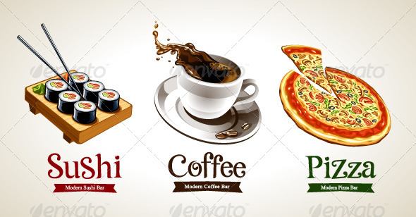 GraphicRiver Sushi Coffee and Pizza 4763152