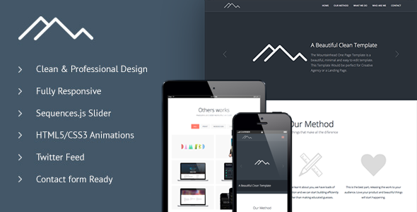 ThemeForest Mountainhead Responsive One Page HTML Template 4652163