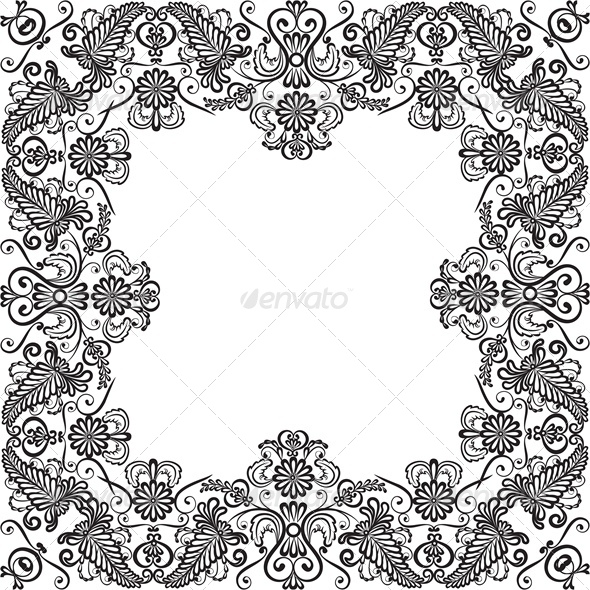 GraphicRiver Lace Floral Frame 4763466