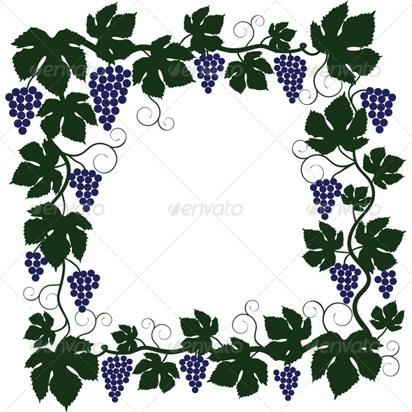 GraphicRiver Bunch of Grapes and Vine Frame 4763544
