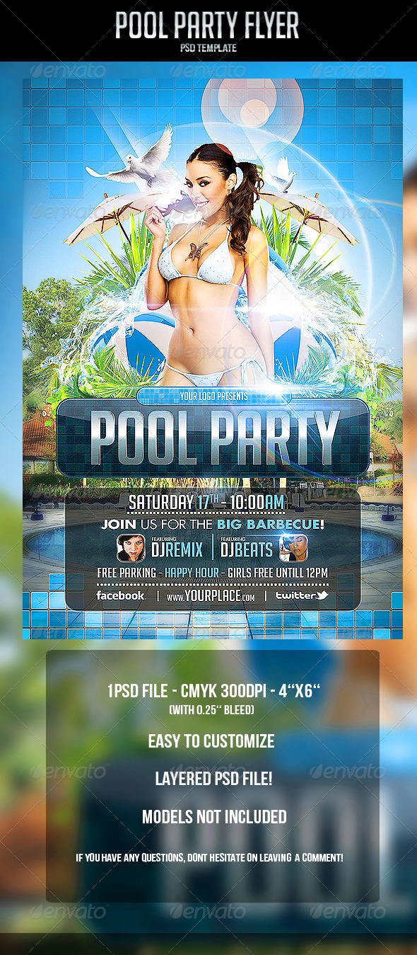 GraphicRiver Pool Party Flyer Template 4690899