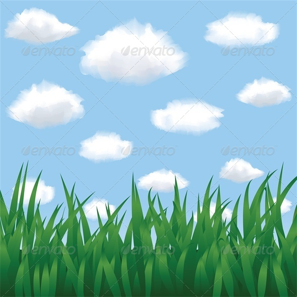 GraphicRiver Green Grass Blue Sky and Clouds in Summertime 4763553
