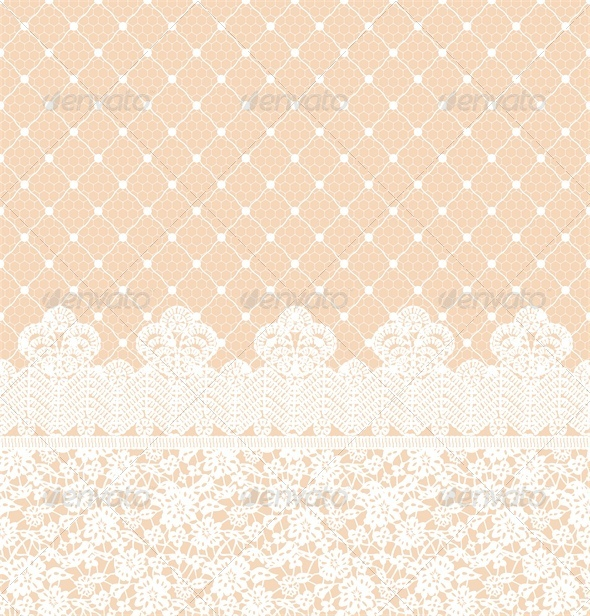 GraphicRiver Wedding Invitation or Greeting Card with Lace Border 4764216