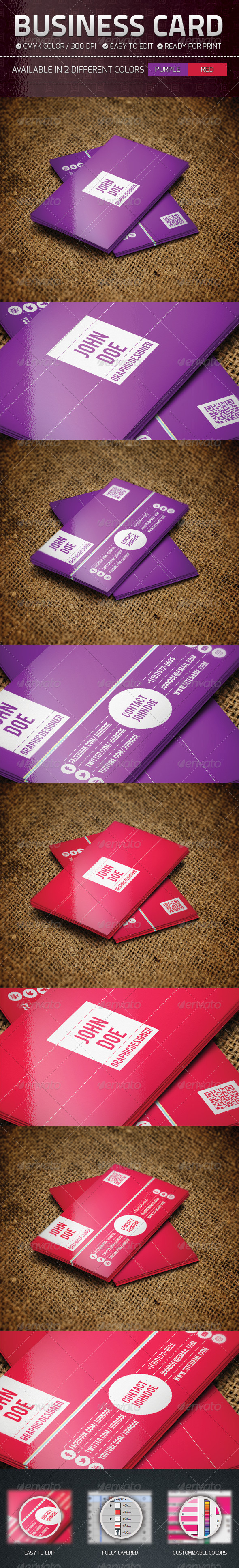 GraphicRiver Purple and Red Business Card 4764281