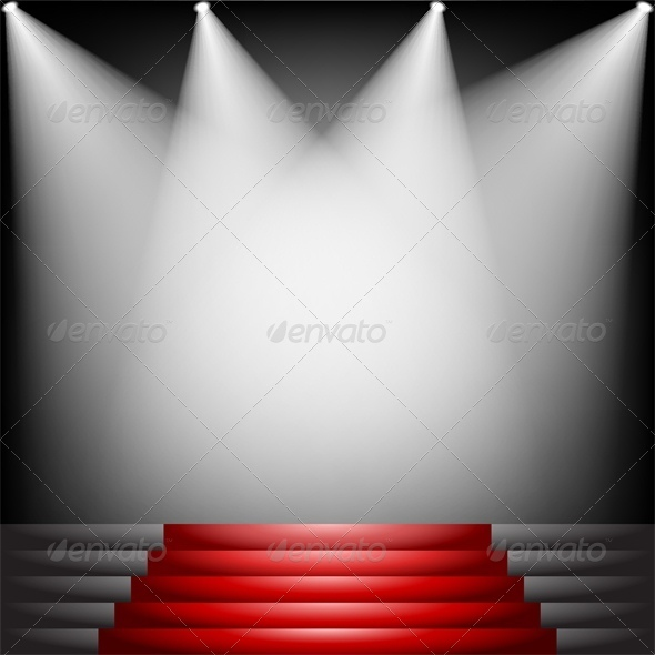 GraphicRiver Red Carpet and Stairs with Spotlight 4764286