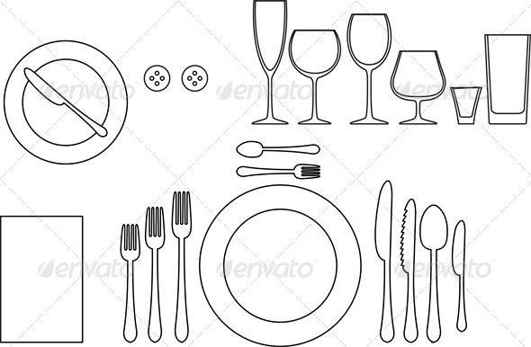 GraphicRiver Outline Silhouette of Tableware 4764291