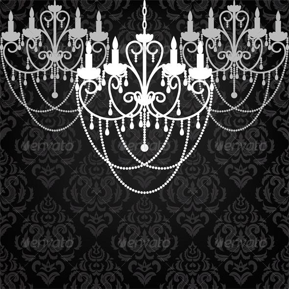 GraphicRiver Antique Chandelier Light in Vintage Room 4764300