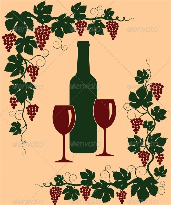 GraphicRiver Background with Grapes Glasses and Bottle 4764310