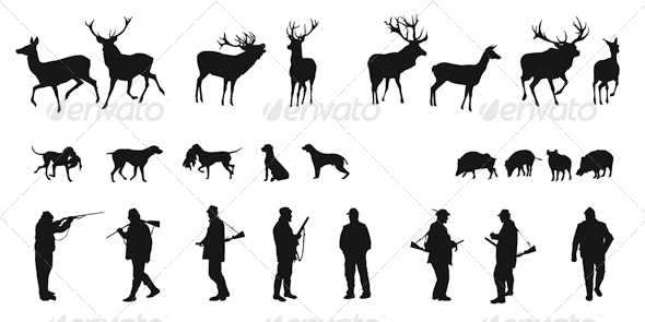 GraphicRiver Set of Silhouettes of Hunters Dogs and Wildlife 4764312