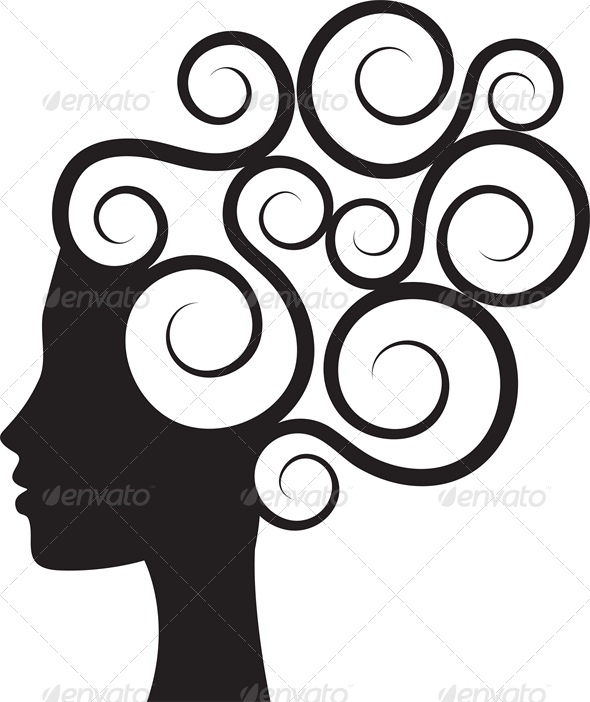 GraphicRiver Silhouette of Woman s Profile with Curly Hair 4764314