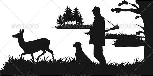 GraphicRiver The Hunter with a Dog Lying in Wait for Deer 4764320