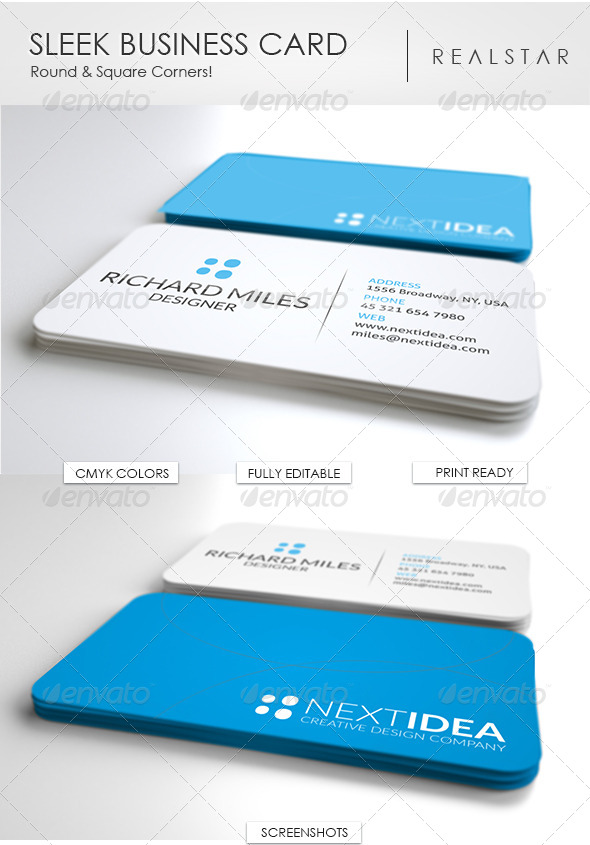 GraphicRiver Sleek Business Card 4764357