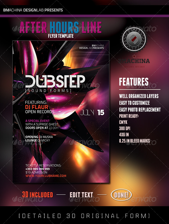 GraphicRiver Dubstep SoundForms Flyer Template 4764761