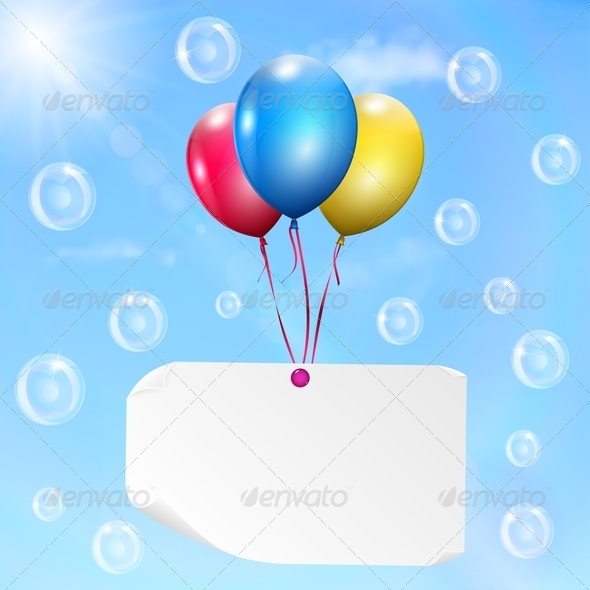 GraphicRiver Multicolored Balloons With Paper Card 4764844
